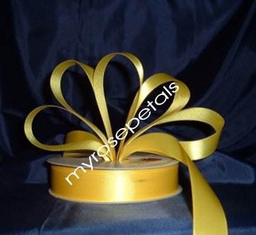 """Satin Ribbon- 7/8"""" Double Face 50 Yards (150 FT) - Yellow -Sewing-Craft - Wedding Favors"""