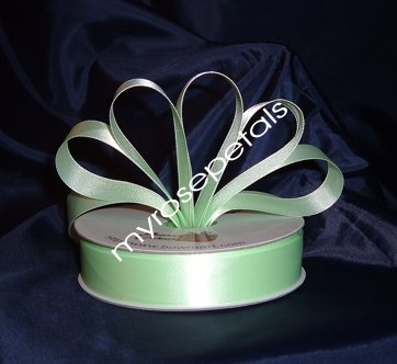 "Satin Ribbon- 7/8"" Double Face 50 Yards (150 FT) - Pale Green -Sewing-Craft-Wedding Favors"