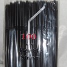 Straws - Flex/Flexible Drinking Straws - Luau - Wedding - Party - Black - 200 Flexible Straws