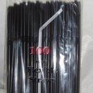 Straws - Flex/Flexible Drinking Straws - Luau - Wedding - Party - Black - 200 Flexible Straws