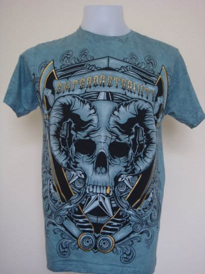 Shiroi Neko Design by Eternity Skull Punk Tattoo T-Shirt Blue Size L