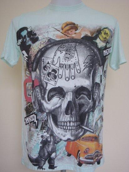 Shiroi Neko Vintage Skull Punk Light Green T-Shirt  L