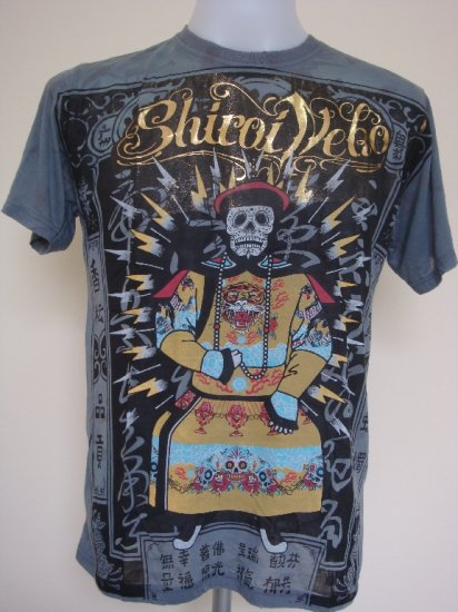 Shiroi Neko Vintage Skull Tattoo Art T-Shirt Dark Grey Size M