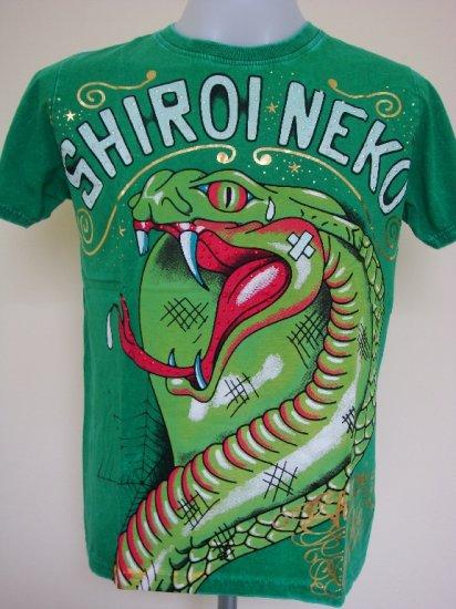Shiroi Neko Snake Cobra Punk Tattoo Art T-Shirt Green Size M