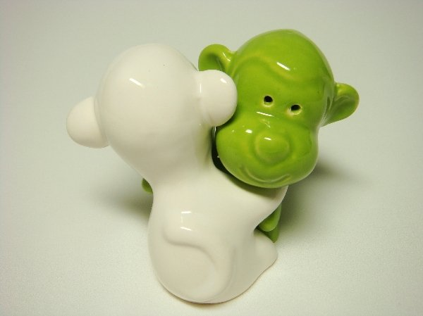 Ceramic Salt & Pepper Shakers Green & White Monkey Hug