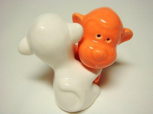 Ceramic Salt & Pepper Shakers Orange & White Monkey Hug