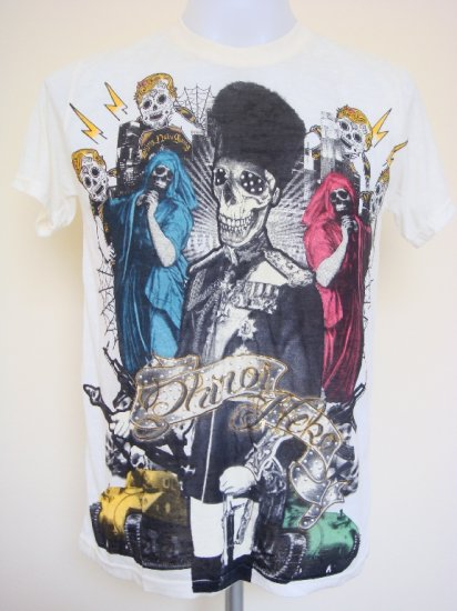 Shiroi Neko General Skull Tank Tattoo T-Shirt Light Yellow Size M