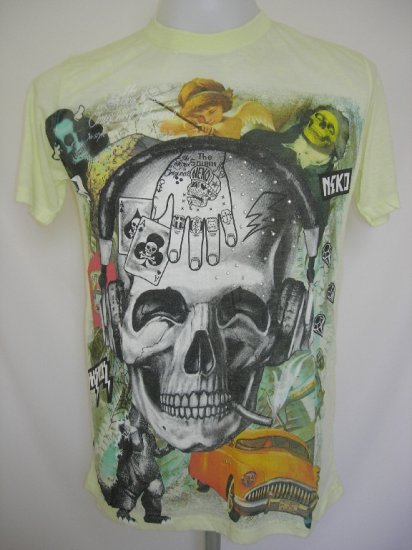 Shiroi Neko Skull Punk Tattoo Art T-Shirt Light Yellow L