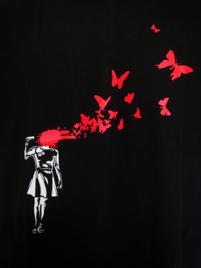 Mens Womens Red Butterfly Urban Cool Art T-Shirt Black L