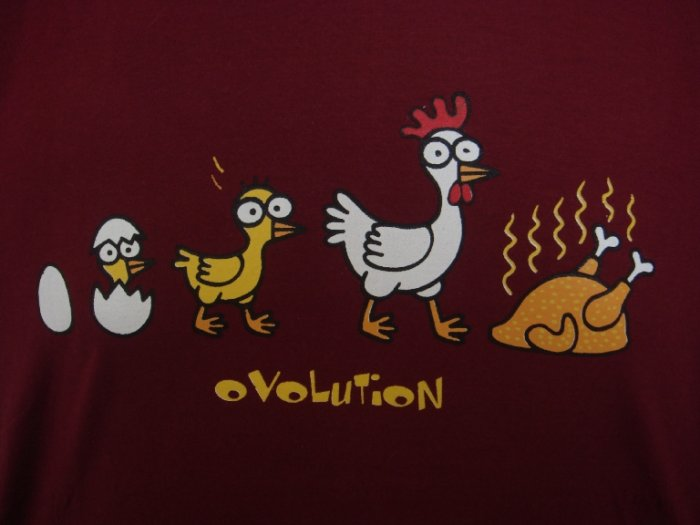 Mens Womens Chicken Evolution Funny T-Shirt Dark Red M