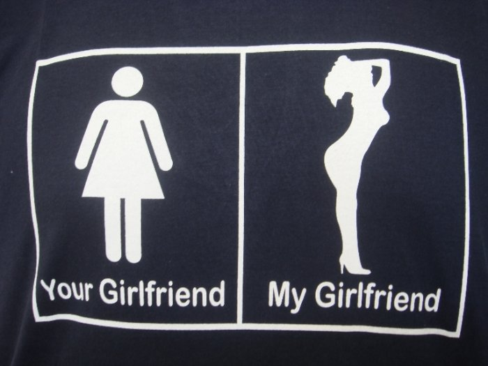 Mens Womens My Gf Your Gf Funny Art T-Shirt Dark Blue M