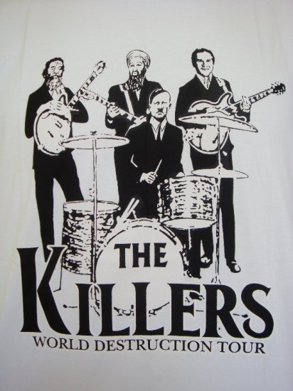 Mens Womens The Killers World Destruction Tour Parody T-Shirt White L