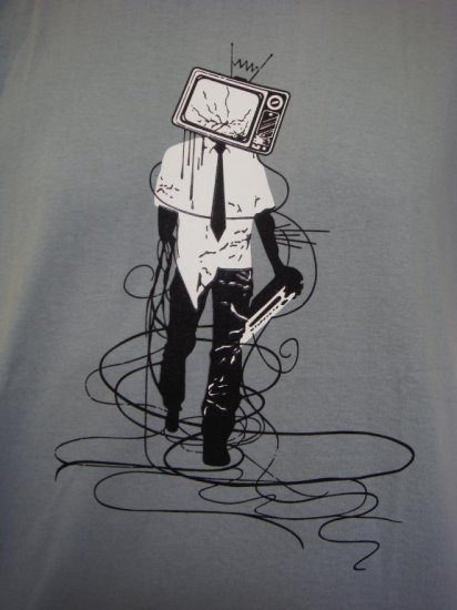 Mens Womens Funky Urban Human TV Art T-Shirt Gray L