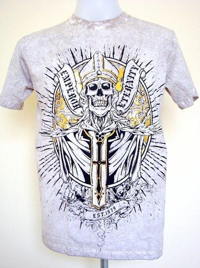Emperor Eternity Skull Priest Tattoo Emo T-Shirt Gray Size L