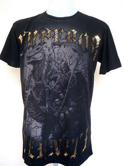 Emperor Eternity Devil Knight Reaper Horse Skull T-Shirt Black Size L