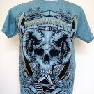 Emperor Eternity Skull Punk Rock Tattoo T-Shirt Blue Size M