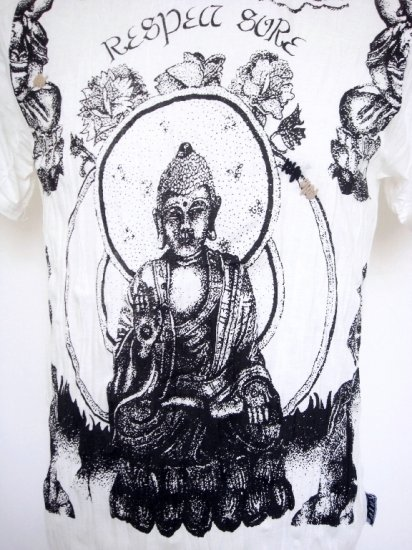 Mens Womens Buddha Soft Top Cotton T-Shirt White