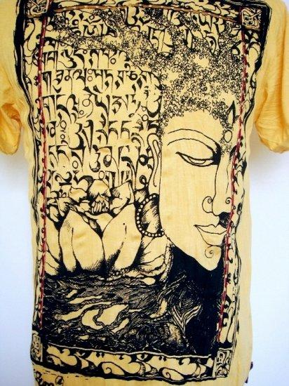 Mens Womens Funky Buddha Thai Ethnic Soft Top Cotton T-Shirt Yellow