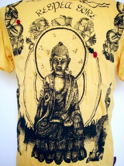 Mens Womens Buddha Yoga Asia Soft Top Cotton T-Shirt Yellow