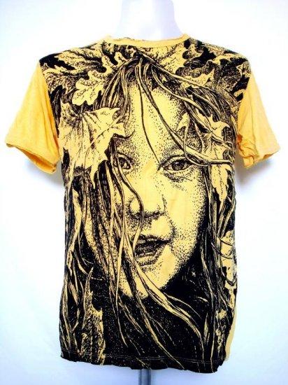 Mens Womens Girl Emo Punk Urban Soft Top Cotton T-Shirt Yellow