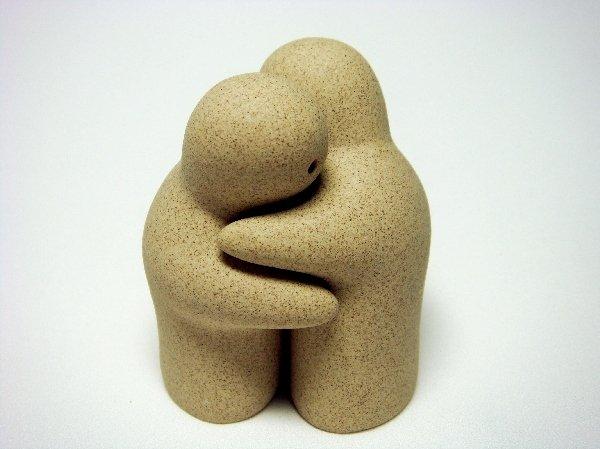 Sandstone Salt & Pepper Shakers Natural Tan Couple Hug