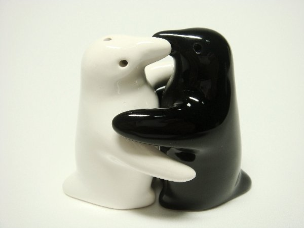 Ceramic Salt & Pepper Shakers Black & White Penguin Hug