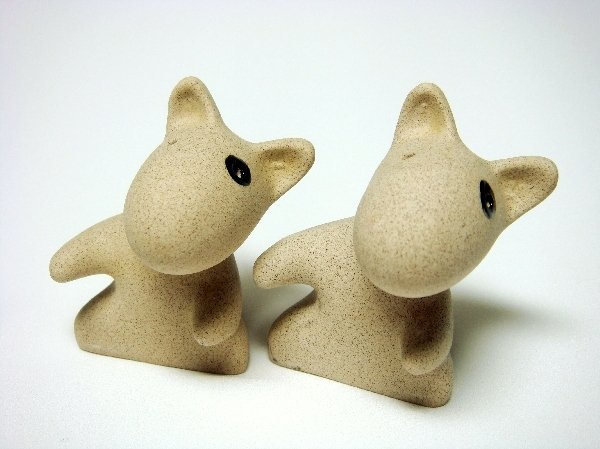 Sandstone Salt & Pepper Shakers Dog Love Hug