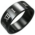 316L Black Polished Stainless Steel Roman Numeral Ring