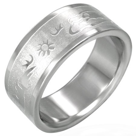 316L Surgical Stainless Steel Sunset Symbol Band Ring 7-10
