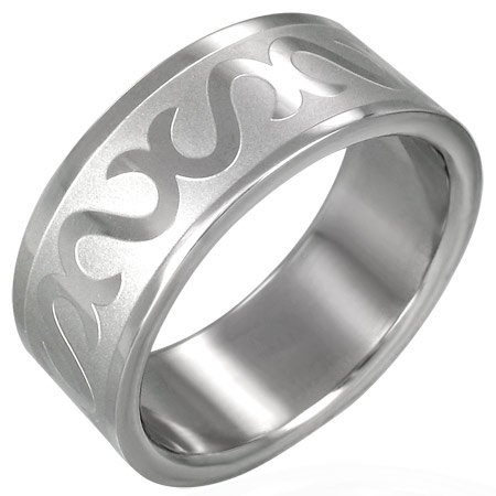 316L Surgical Stainless Steel Tribal Design Band Ring Size 7-11