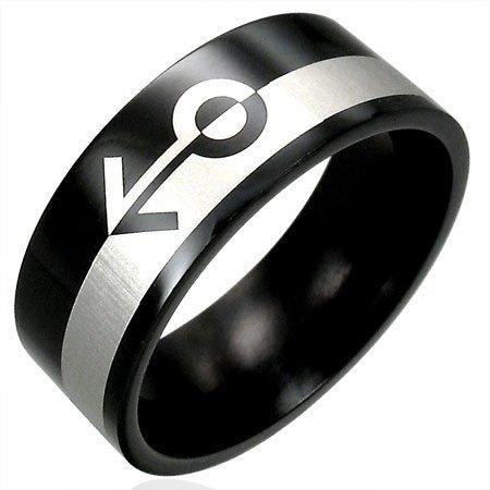 316L Black Polished Stainless Steel Gender Gay Pride Ring Size 6