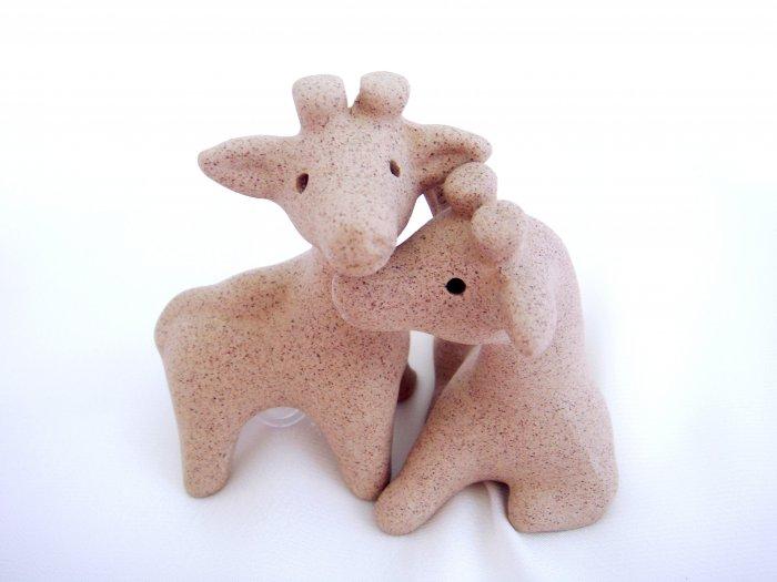 Sandstone Salt & Pepper Shakers Giraffe Love Hug