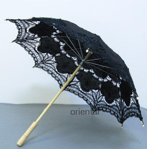 Battenburg Black Lace Parasol Umbrella Wedding Bridal Shower