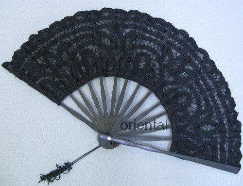 Black Victorian Battenburg Lace Hand Fan Wedding Bridal