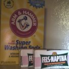 2 BOXES OF ARM & HAMMER WASHING SODA AND  4 BARS OF FELS-NAPTHA SOAP