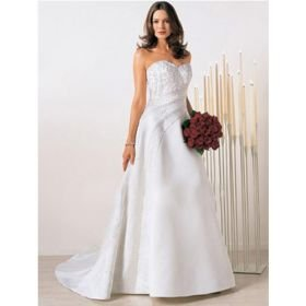 A-line Strapless Sweep Train Satin Wedding Dresses for Bride