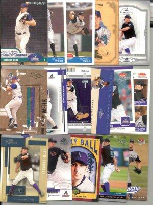 16 different Brandon Webb cards 03(RC)'s-05's Arizona Diamondbacks