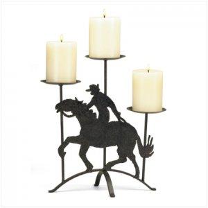 Cowboy on Horse Candleholder