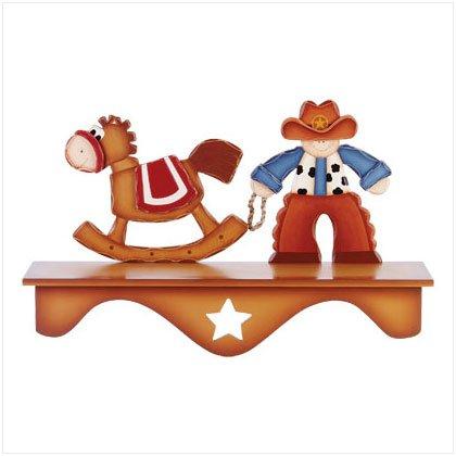 Wood Cowboy & Horse Wall Shelf