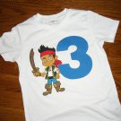 Toddler Boys 3rd Third Jake and the Neverland Pirates Inspired Themed Birthday Shirt