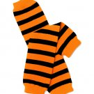 Pumpkin Black and Orange Stripe Legwarmers Leggings