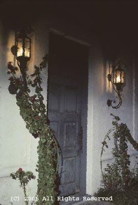 Rose N Lantern Doorway Giclee Art Print 12x16