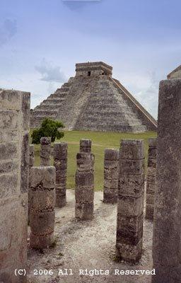 Maya Temple View Giclee Art Print 12x16