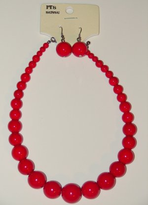 Bead Necklace (Red)