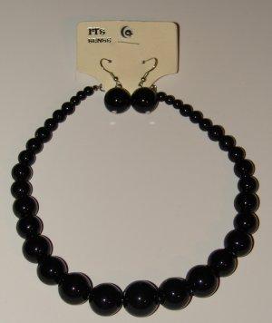 Bead Earrings & Necklace Set  - Single Loop (White)