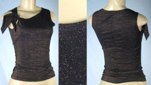 Glitter Top with Tie Shoulder Accent