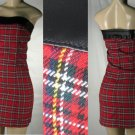 Aziz - Junior Plaid Tube Dresses with Faux Leather Bustline Accent