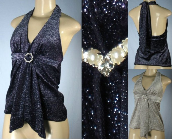 Selections - Juniors Glitter Halter Tops with Front Pearlescent Accent