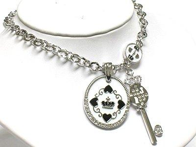 Key & round pendant necklace(R1275WH-29109)