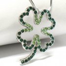 Crystal four leaves clover necklace(R1261GN-12639)